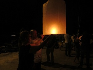 John Helping me with my Lantern