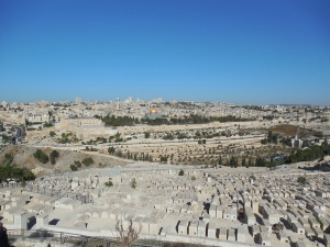 Temple Mount with Dome of the Rock in background and cemetery in foreground.