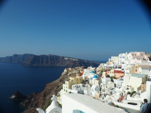 Santorini is famous for it's white buildings and blue domes