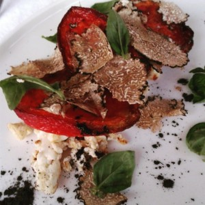 Next we have a fermented ricotta with slow roasted tomatoes basil leaves and shavings of black summer truffle.