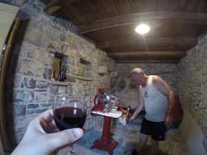 wine and prosciutto.